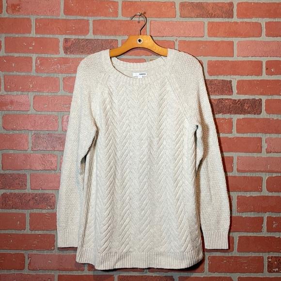 Super Soft Cream Chevron Knit Crewneck Sweater